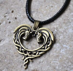 Vintage bronze plt celtic knot horses in a heart pendant necklace image is loading vintage bronze plt celtic knot horses in a aloadofball Images