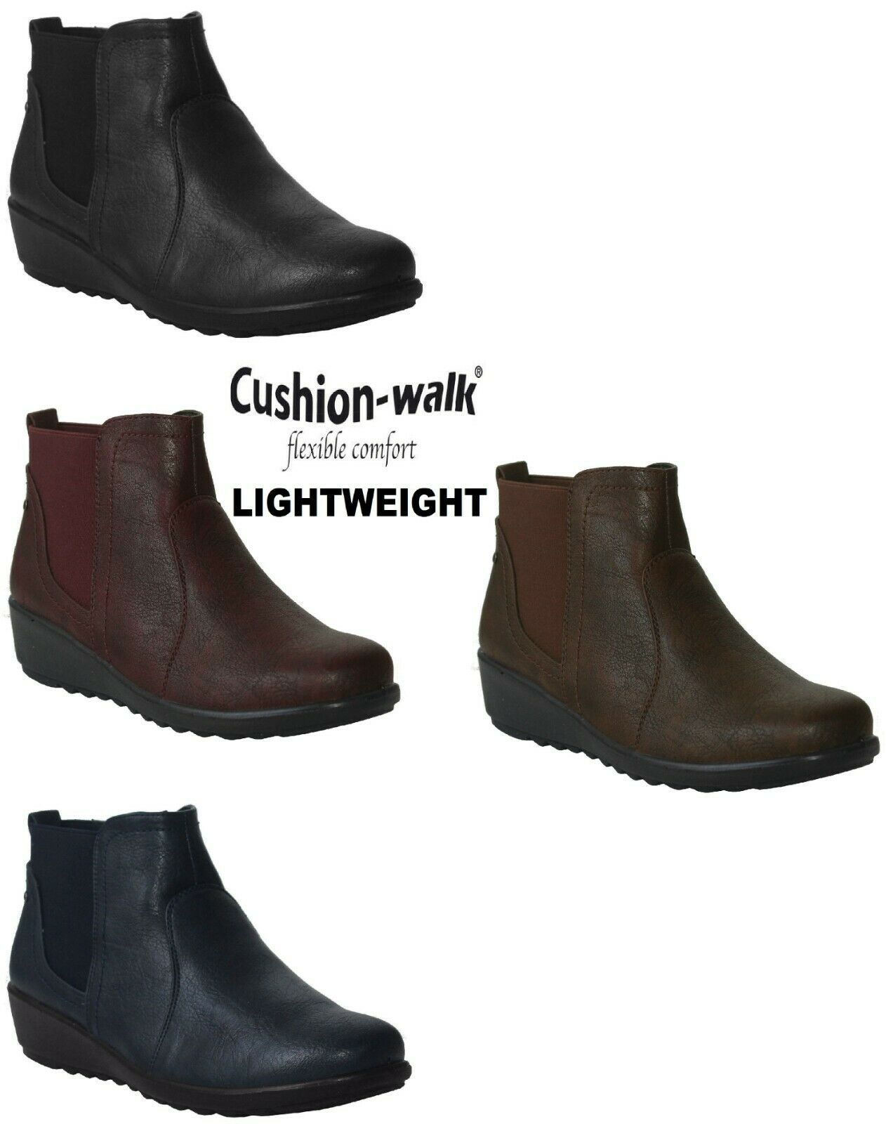 NEW WOMENS LADIES TWIN GUSSET LIGHTWEIGHT LOW WEDGE HEEL CASUAL WALK ANKLE BOOTS