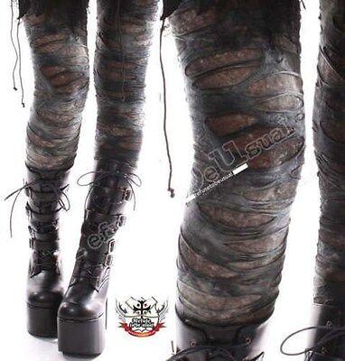 Punk Goth Mummy Zombie Torn Broken Distressed Hole Grunge Ash Legging S M L XL