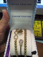 Bella Perlina European 3 Piece Gold Bracelet Set /  Forever Together  Theme