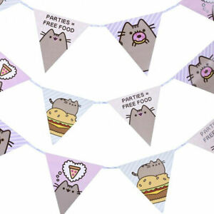 Details About PUSHEEN PAPER BUNTING APPROX 3 METRES LONG CAT KITTEN BIRTHDAY PARTY DECORATION