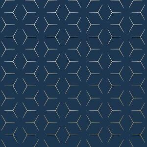 Details About Metro Illusion Geometric Wallpaper Blue Gold Wow005 World Of Metallic