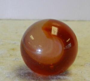 #13062m Vintage Akro Agate Carnelian Corkscrew Marble .67 Inches