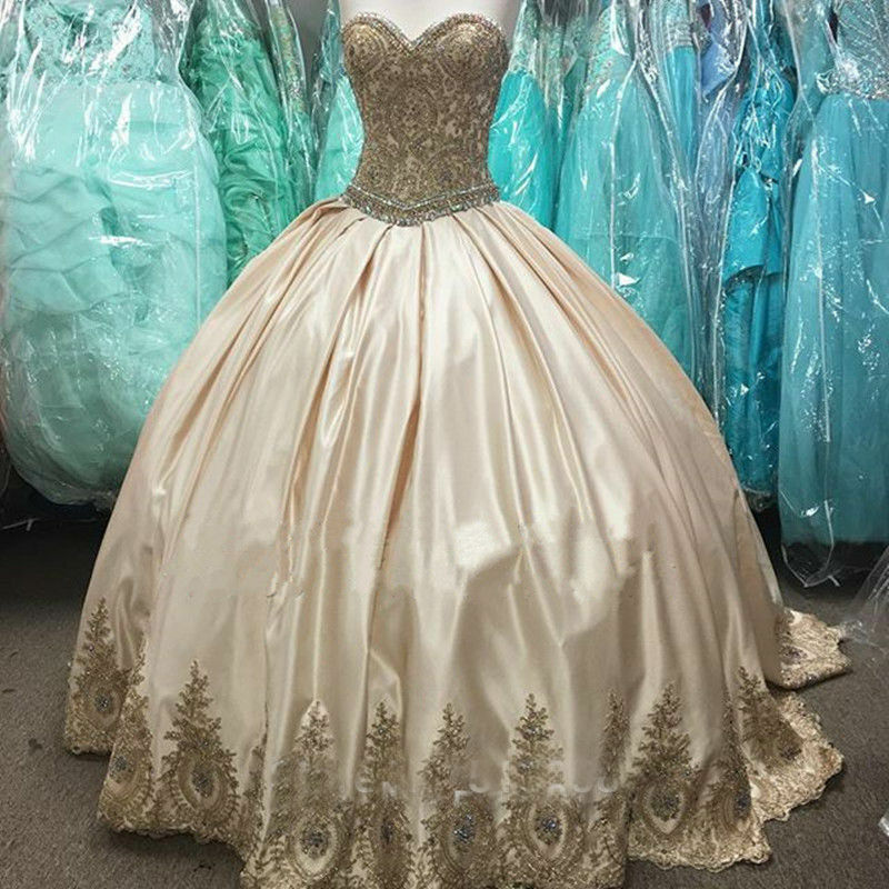 Champagne Wedding Gown gold Applique Ball Gown Quinceanera Formal Prom Dresses