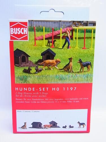 LOT 50537  Busch HO 1197 Hunde-Set Bausatz für den Modellbau NEU in OVP