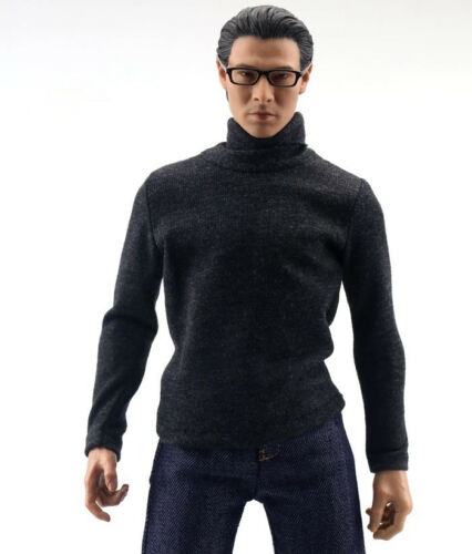 """1:6th Scale Black Long Sleeve High Collar T-shirt F 12/"""" Male Action Figure Toys"""
