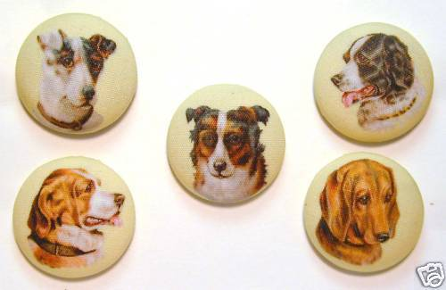 Dog Button Set of 5 Different Images Special Price FREE US SHIPPING
