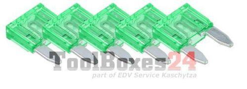 5 Stück 30A Auto-Sicherungen Mini Sicherungen Flachsicherungen KFZ Sicherung
