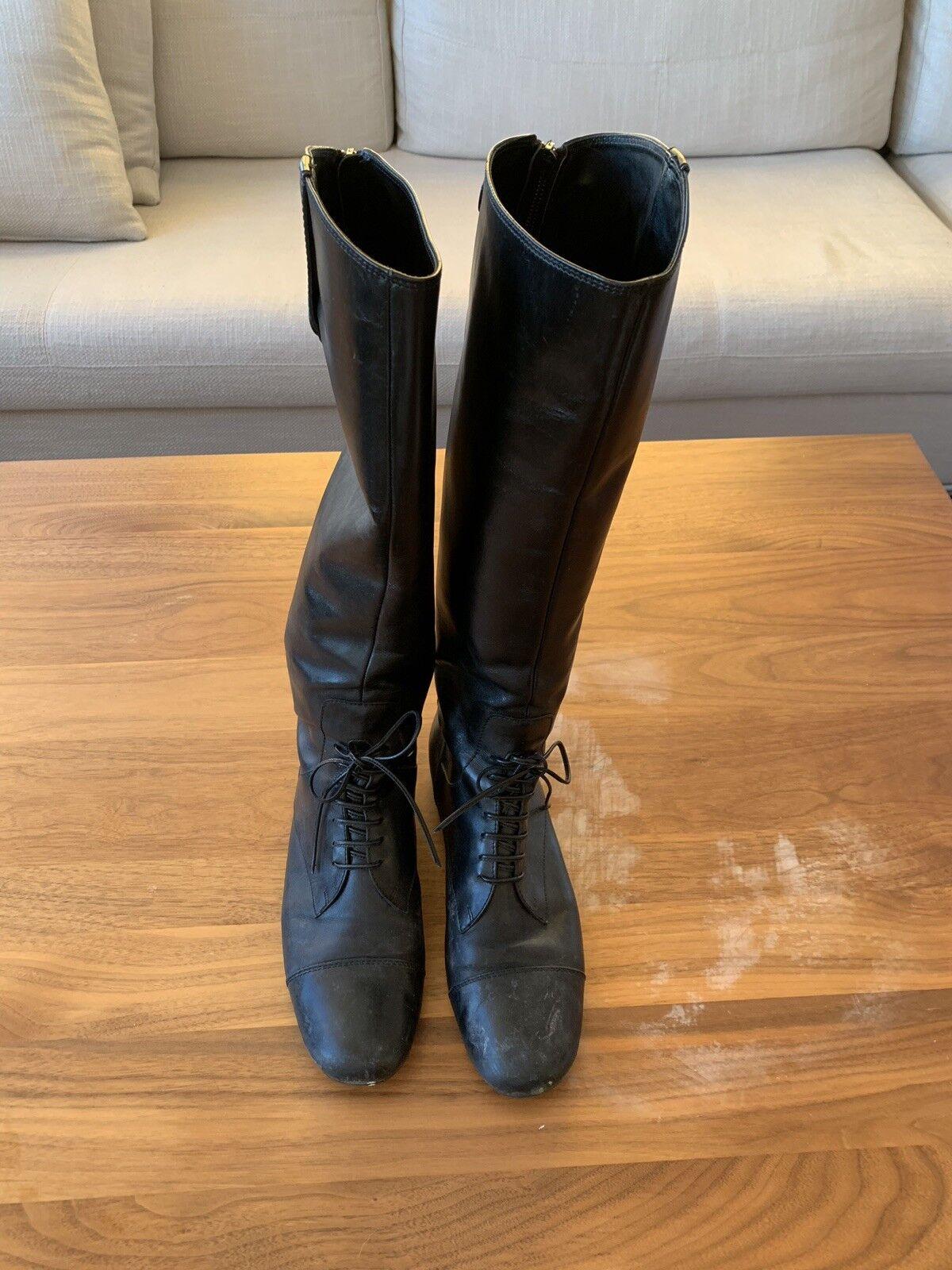 risposta prima volta Miu Miu Leather Long stivali Sz Sz Sz 38   US 8  in cerca di agente di vendita
