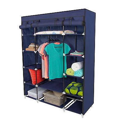 "53"" Portable Closet Storage Organizer Wardrobe Clothes Rack With Shelves"