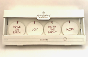 Hearth and Hand Magnolia Porcelain Christmas Ornaments Set of 4 Joanna Gaines