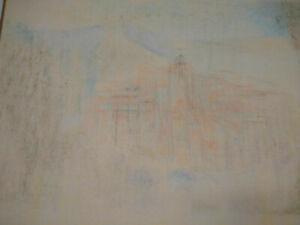 Rare-grand-dessin-abstraction-lyrique-architecture-fusain-annees-40-50