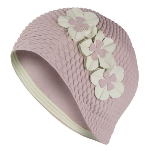 Ladies Swim Hat Swimming Hat Bathing Cap Lilac 3 Flowers Vintage Retro Pretty-*