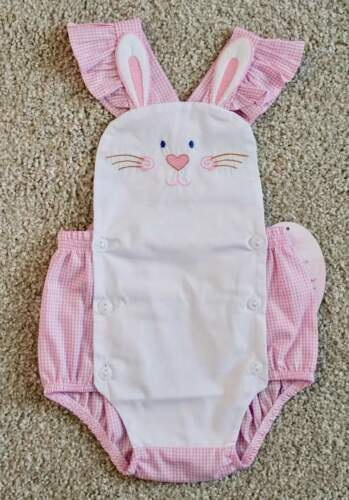 Details about  /Will/'beth NWT Newborn Infant Baby Girl Pink Gingham Bunny Sunsuit 0 3 6 Easter