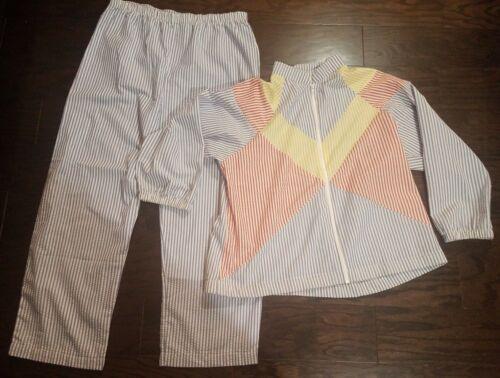 VTG Saybury Womens Striped Nightgown Pajama 2 Piec