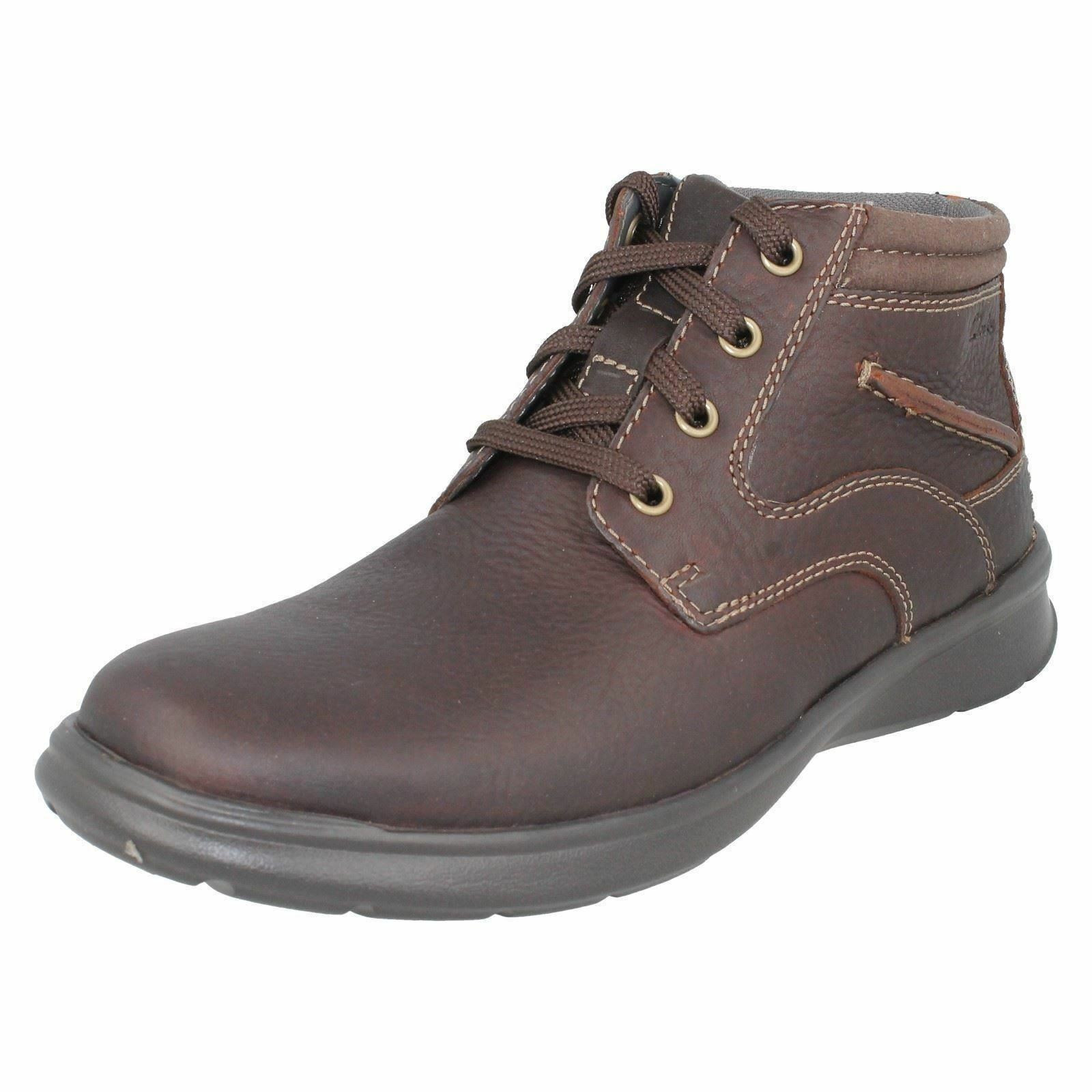 Clarks Mens Cotrell Rise Brown Oily Ankle Boots G Fit (R27B)