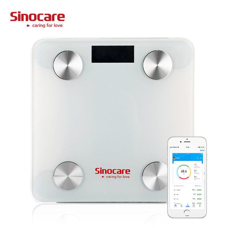 SINOCARE Báscula de baño digital Báscula de peso Báscula de grasa corporal