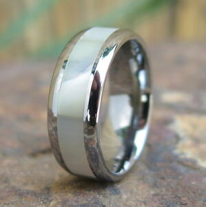 Image Is Loading Hawaiian Tungsten Mother Of Pearl Inlay Engagement Wedding