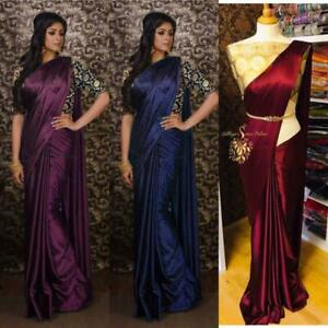 Saree Indian Bollywood Partywear plain Satin silk sari with Banarasi silk blouse