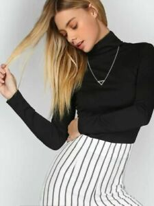 WOMEN-LONG-SLEEVE-PLAIN-POLO-TURTLE-NECK-ROLL-NECK-TOP-JUMPER