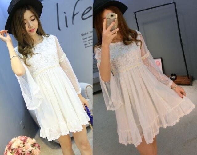 Kawaii Princess Sleeve Cute Sweet Dolly Wedding Lolita 3/4 Sleeve Dress Onepiece