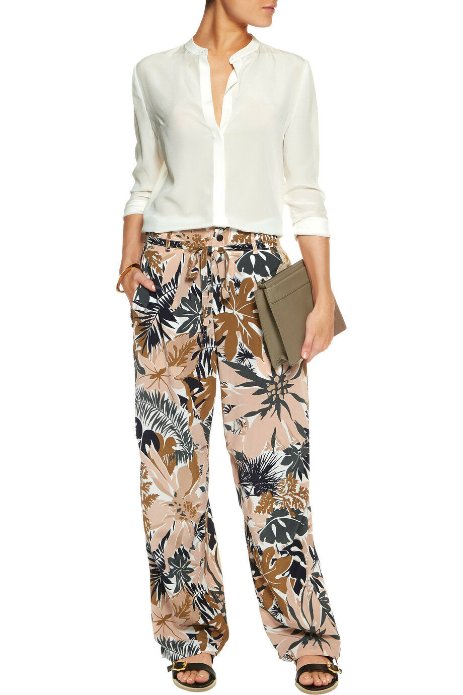 Rag and Bone Victoria Printed Silk Belted Pants Spruce Combo sz.6 NWT