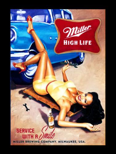 Metal Vintage SHABBY-CHIC Tin Miller High Life plaque//Aimant de réfrigérateur