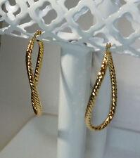 """14k Yellow Italian Gold Facet Designed Twirl Hoop 1 & 13/16"""" Saddleback Earrings"""