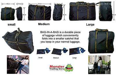 PORTABLE FOLDAWAY SUITCASES STORAGE BAGS IN SMALL MEDIUM & LARGE - TRAVEL MATE