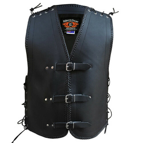 NEW STYLE MENS MOTORCYCLE CLUB BUCKLE VEST 3MM THICK COWHIDE LEATHER LACEUP SIDE