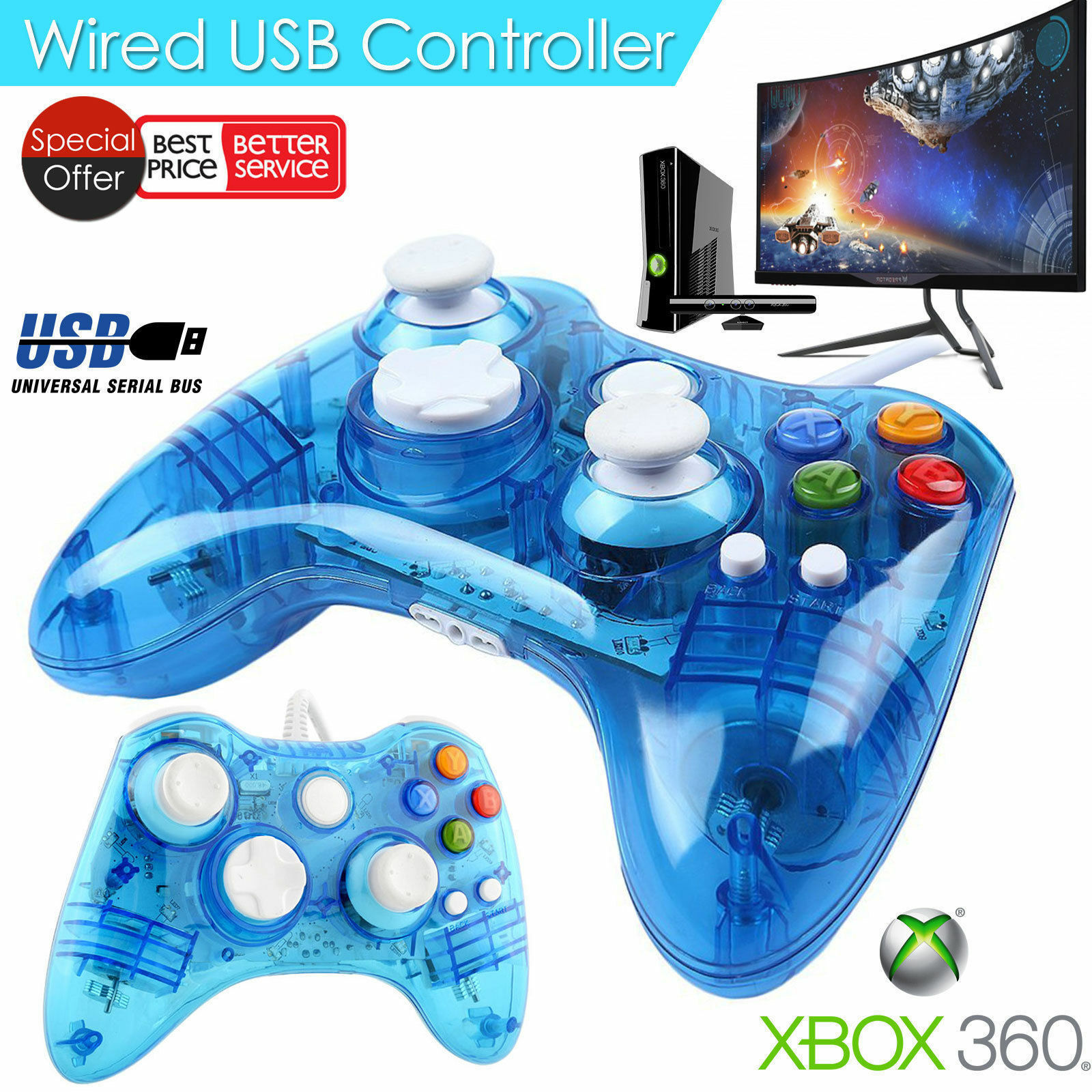Controllers & Remotes - Wired Xbox 360 Controller USB Gamepad Joypad ...