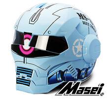 Masei 610 Zaku II Gundam Atomic Iron Flip-Up Bike Motorcycle Helmet Glossy Blue