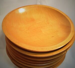 Details About Vintage Mid Century Modern Set Handcrafted Oval Shallow Wooden Bowls Munising S8