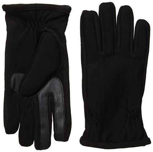 $125 ISOTONER Mens BLACK FLEECE SMARTOUCH LEATHER ATHLETIC WINTER GLOVES SIZE M