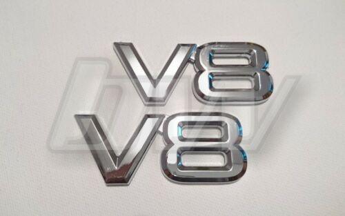 2 x V8 BADGES CHROME EFFECT UNIVERSAL CAR BADGES JAGUAR MG RANGE ROVER MERCEDES