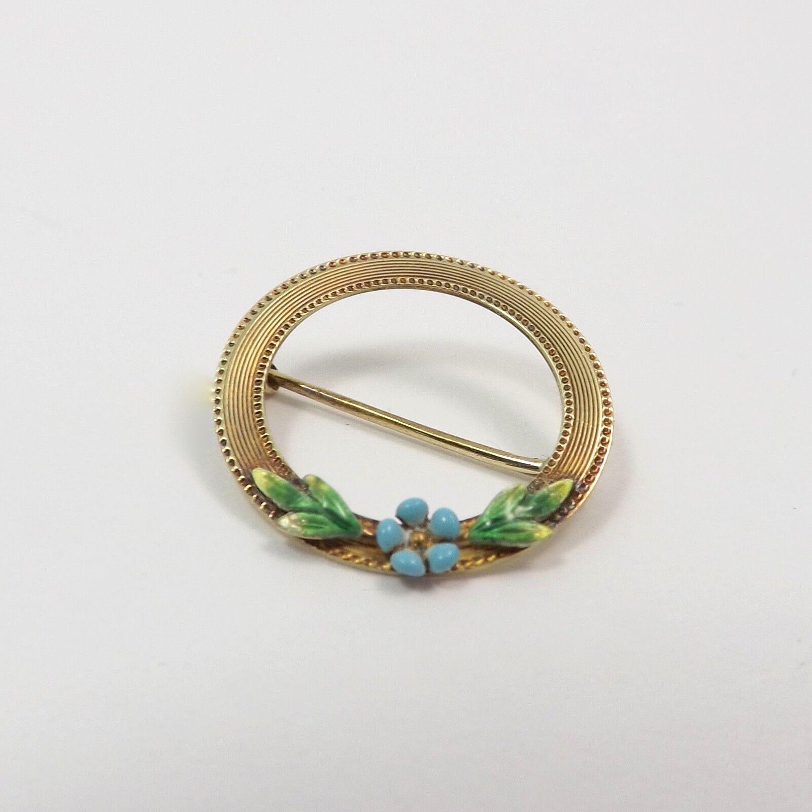 Art Nouveau14K gold Enamel Flower Wreathe Brooch Pin Whimsical