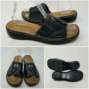Naturalizer Black Leather Open Toe Slip On Flat Sandal Slides Women's Size 7.5 M