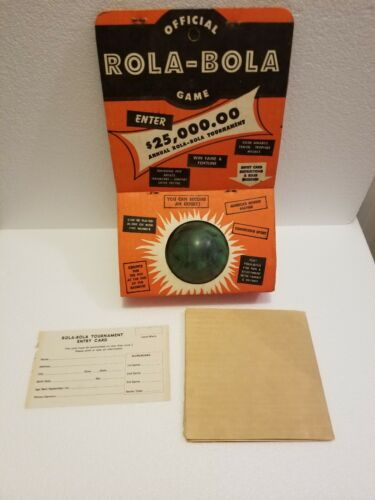Vintage 1950s Official Rola-Bola Game Ball with instructions Unopened #A4