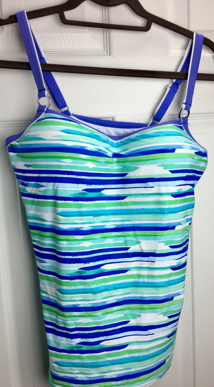 NWOT AZURA Sz 8 bluee Aqua White Striped Padded Bra TANKINI SWIM TOP