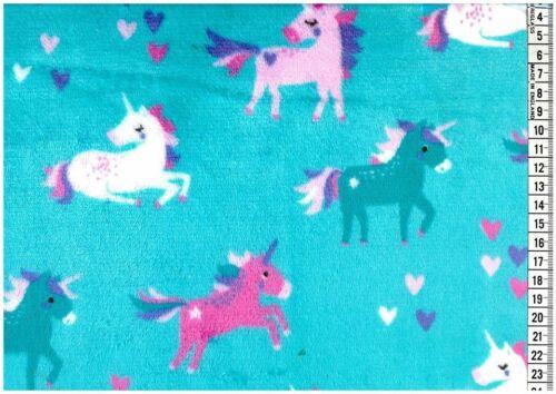 "Turquoise Unicorn Soft Cuddle Fleece Fabric 100/% Polyester 58/"" M700 Mtex"
