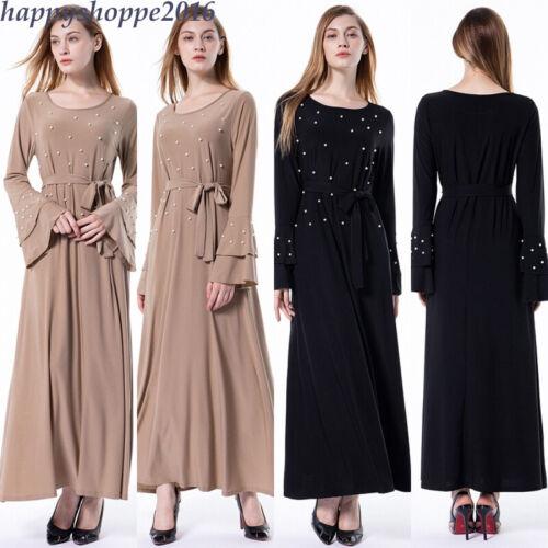 Islam Beaded Gown Muslim Flare Sleeve Robe Abaya Dubai Ramadan Party Women Dress