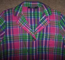 NWT Ralph Lauren Pink/Green/Purple PLAID FLANNEL Sleep Shirt Nightgown Gown M