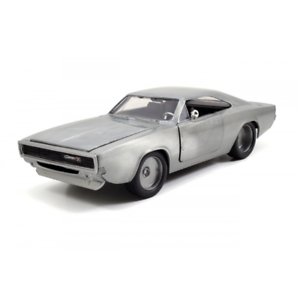 Fast-And-Furious-7-1968-Dodge-CARICABATTERIE-R-T-Bare-METALLO-1-24-Scala-JADA