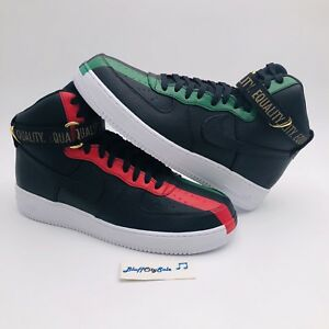6257b03a2888 Nike Air Force 1 High BHM QS Equality Black Red 836227-002 Rare HTF ...