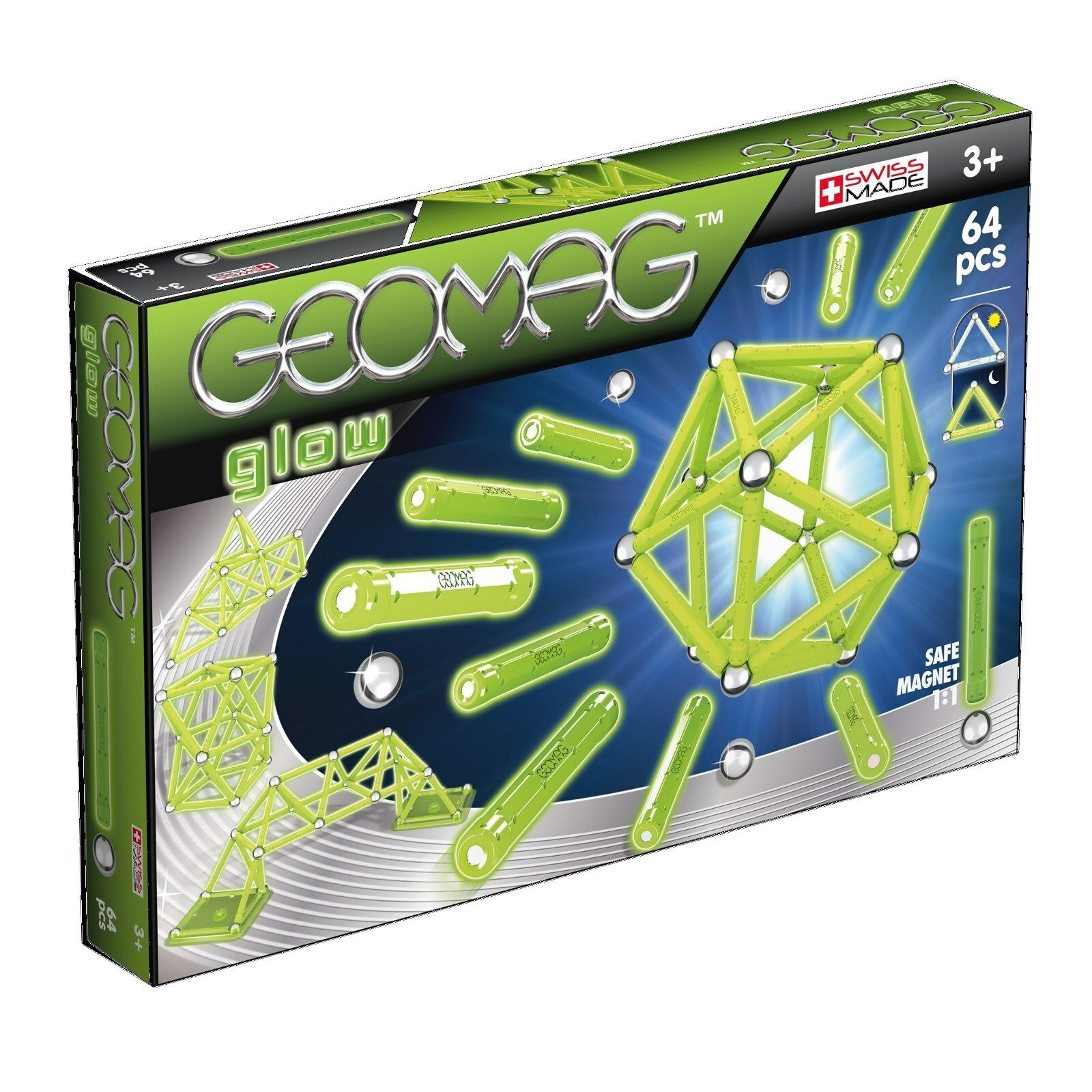 Geomag Glow 64 Pieces 336 Magnetic Construction Kit Original World