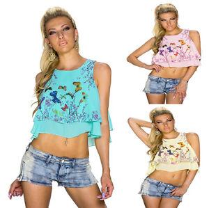 Mujer-Recortada-Camiseta-Top-sin-mangas-bauchfrei-Crepe-Flores-Patron-Party-S-34