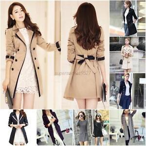 Womens-Double-Breasted-Long-Trench-Coat-Overcoat-Outwear-Slim-Windbreaker-Jacket