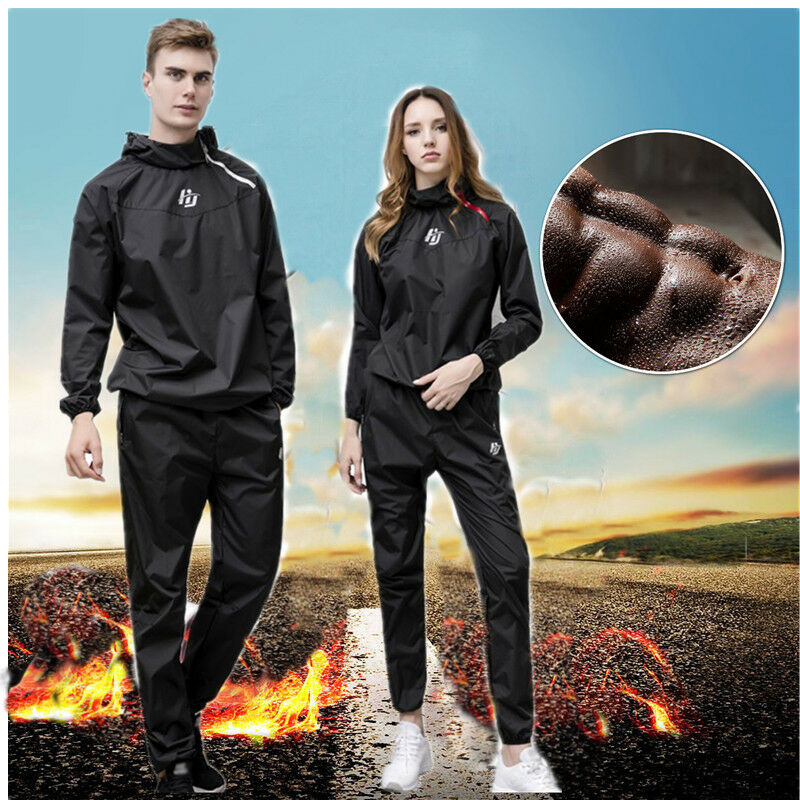 Unisex Sauna Suit Heavy Duty Sweat Suit Exercise Gym Fitness Weight Loss Hooded