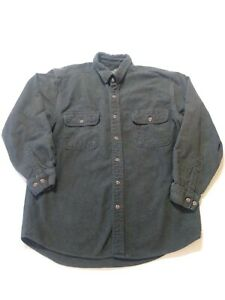 Field-amp-Stream-Thick-Green-Flannel-Long-Sleeve-Button-Up-Shirt-Mens-Large-Reg