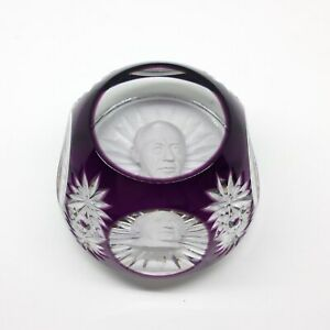 Baccarat-Paperweight-ADLAI-STEVENSON-Blue-Sulfide-Crystal-Rare-Limited-Edition
